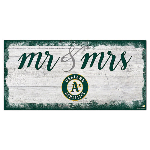 Oakland Athletics Script Mr & Mrs 6x12 Sign