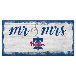 Philadelphia Phillies Script Mr & Mrs 6x12 Sign