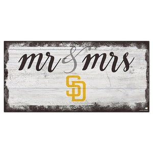 San Diego Padres Script Mr & Mrs 6x12 Sign
