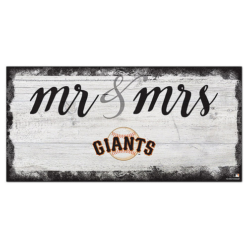 San Francisco Giants Script Mr & Mrs 6x12 Sign