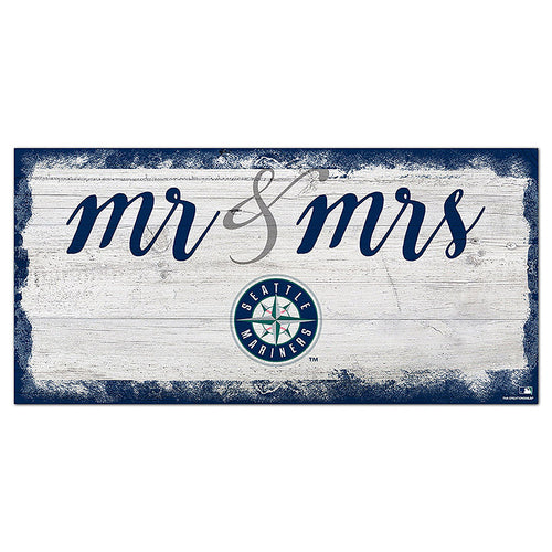 Seattle Mariners Script Mr & Mrs 6x12 Sign