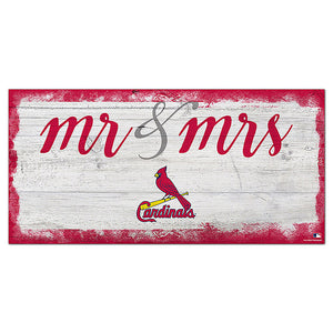 St. Louis Cardinals Script Mr & Mrs 6x12 Sign