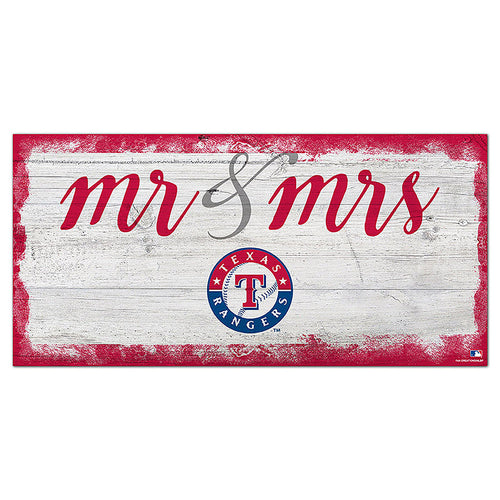 Texas Rangers Script Mr & Mrs 6x12 Sign
