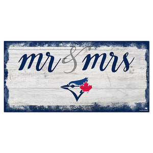 Toronto Blue Jays Script Mr & Mrs 6x12 Sign