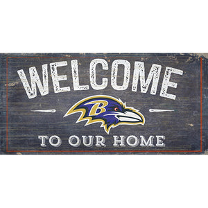 Baltimore Ravens Welcome Distressed 6 x 12