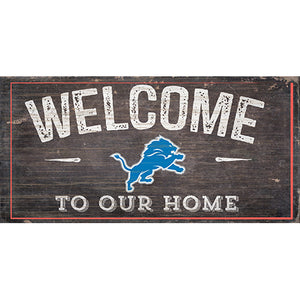 Detroit Lions Welcome Distressed 6 x 12