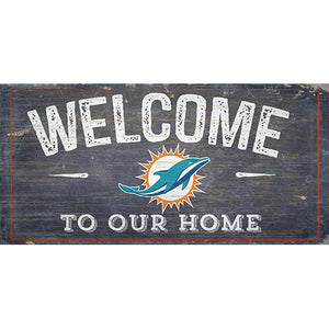 Miami Dolphins Welcome Distressed 6 x 12