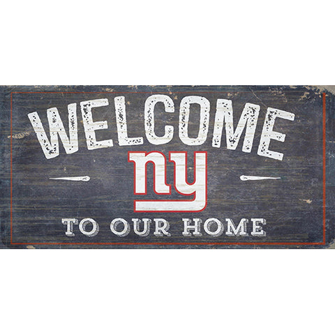 New York Giants Welcome Distressed 6 x 12