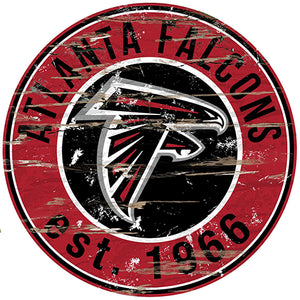 Atlanta Falcons Round Distressed Sign