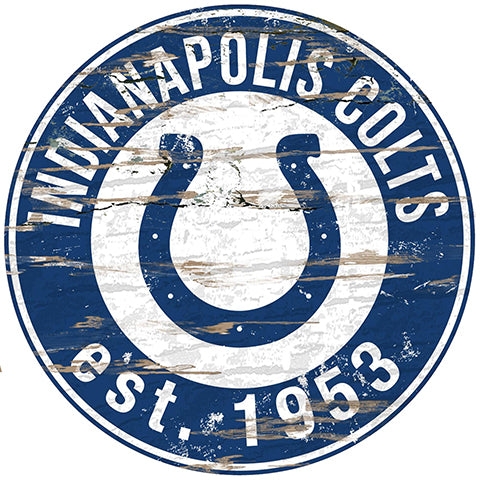 Indianapolis Colts Round Distressed Sign