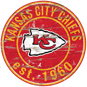 Kansas City Chiefs Round Distressed Sign
