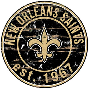 New Orleans Saints Round Distressed Sign