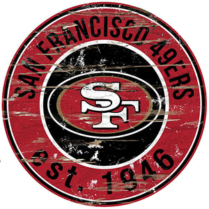 San Francisco 49ers Round Distressed Sign