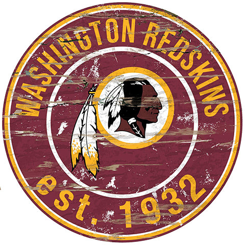 Washington Redskins Round Distressed Sign
