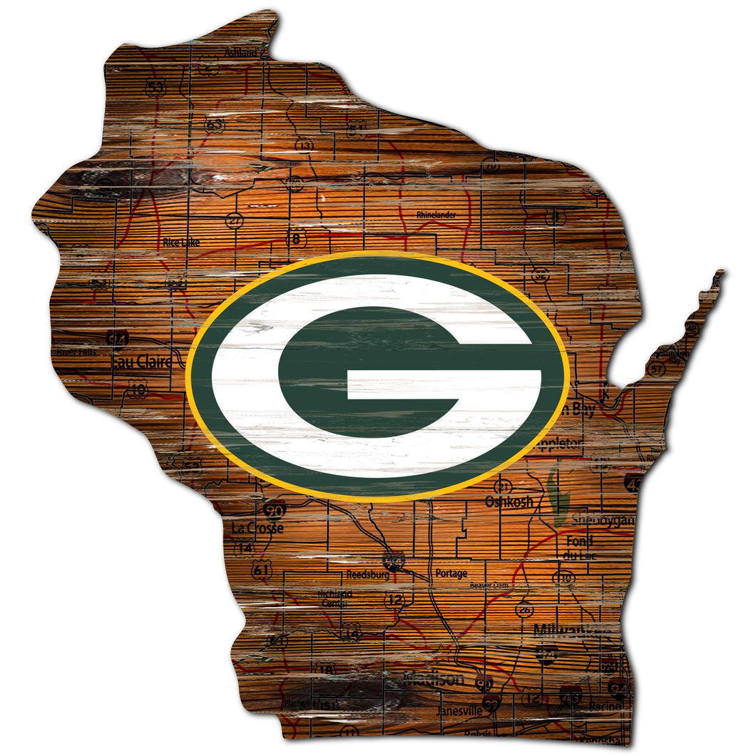 Green Bay Packers Distressed State with Logo