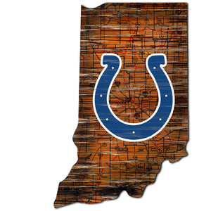 Indianapolis Colts Distressed State with Logo