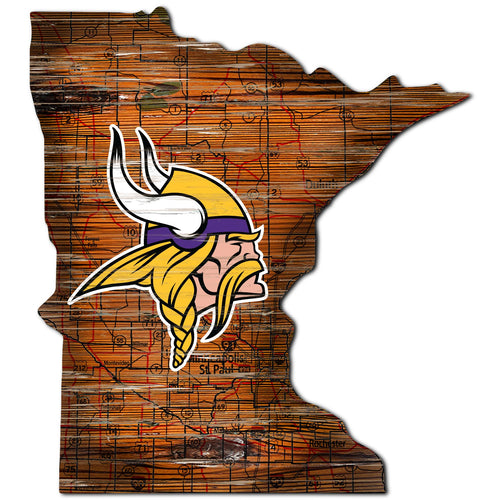 Minnesota Vikings Distressed State with Logo