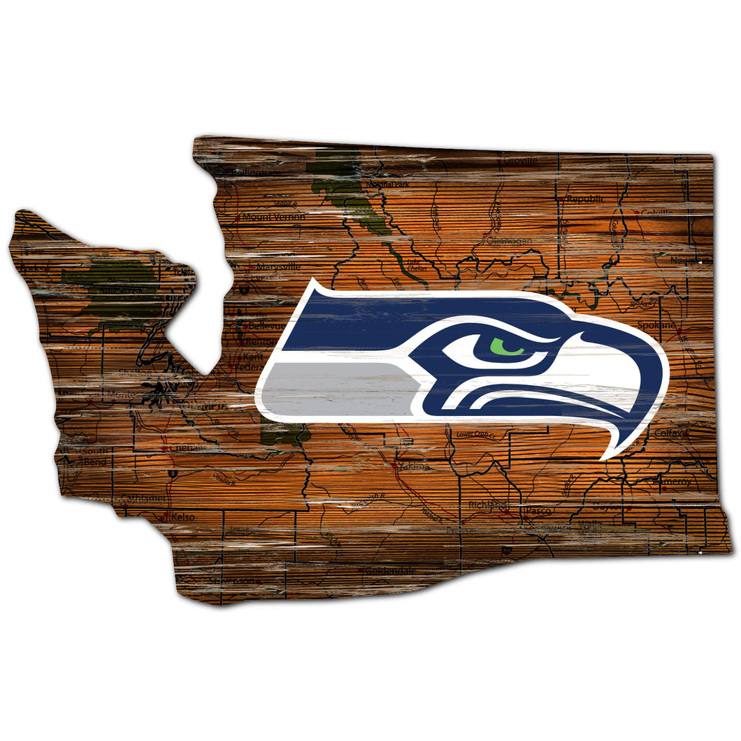 Seattle Seahawks Distressed State with Logo