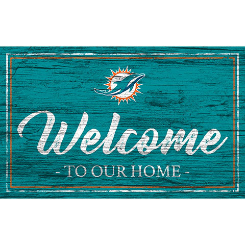 Miami Dolphins Team Color Welcome 11x19 Sign