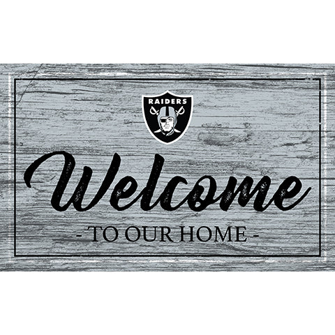 Oakland Raiders Team Color Welcome 11x19 Sign