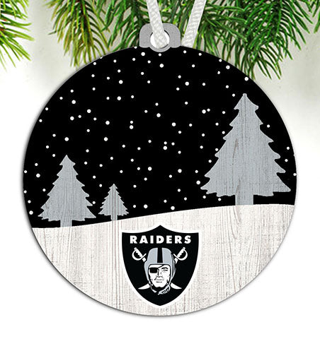 Oakland Raiders Snow Scene Ornament