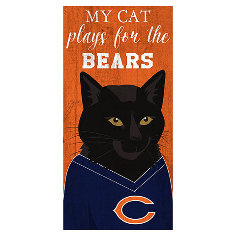 My Cat Plays For The Chicago Bears 6x12 Sign