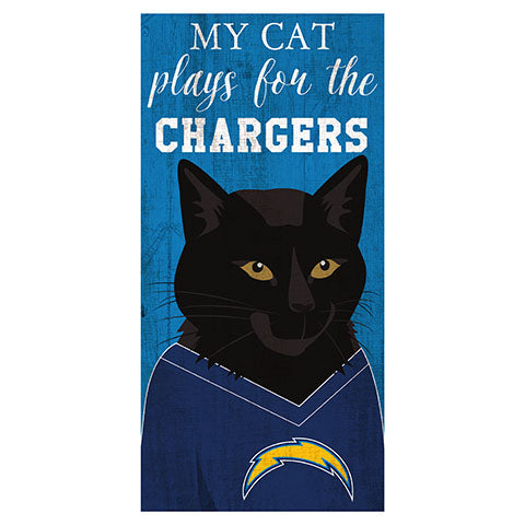 My Cat Plays For The Los Angeles Chargers 6x12 Sign