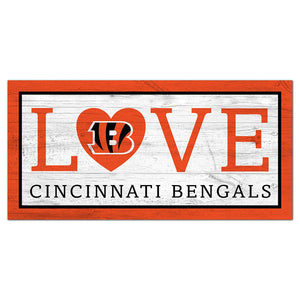 Cincinnati Bengals Love 6x12 Sign