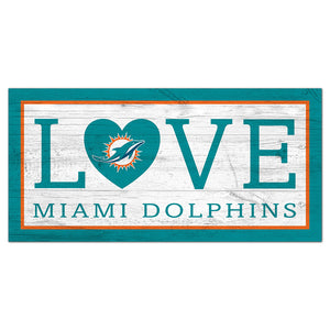 Miami Dolphins Love 6x12 Sign