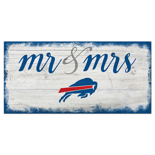 Buffalo Bills Script Mr & Mrs 6x12 Sign