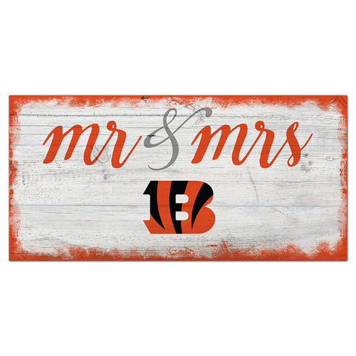 Cincinnati Bengals Script Mr & Mrs 6x12 Sign