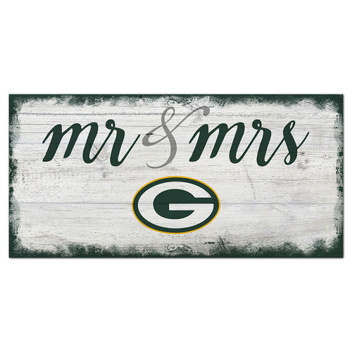 Green Bay Packers Script Mr & Mrs 6x12 Sign