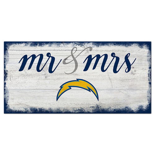 Los Angeles Chargers Script Mr & Mrs 6x12 Sign