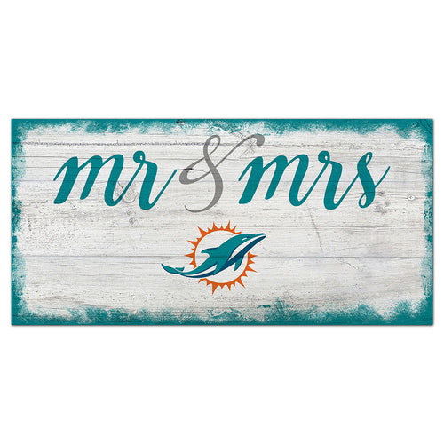 Miami Dolphins Script Mr & Mrs 6x12 Sign