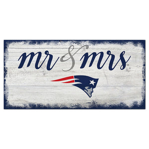 New England Patriots Script Mr & Mrs 6x12 Sign