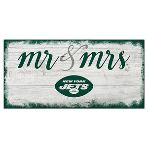 New York Jets Script Mr & Mrs 6x12 Sign