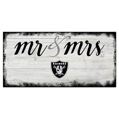 Oakland Raiders Script Mr & Mrs 6x12 Sign