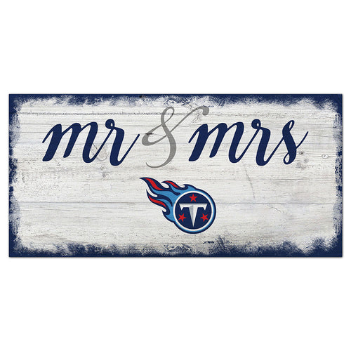 Tennessee Titans Script Mr & Mrs 6x12 Sign