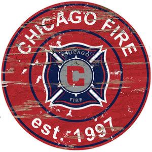 Chicago Fire Round Distressed Sign