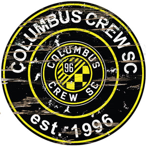 Columbus Crew Round Distressed Sign