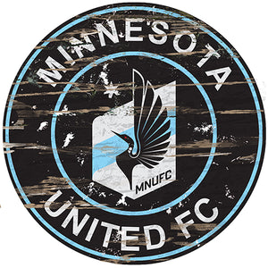 Minnesota United Round Distressed Sign