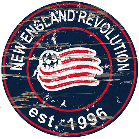 New England Revolution Round Distressed Sign