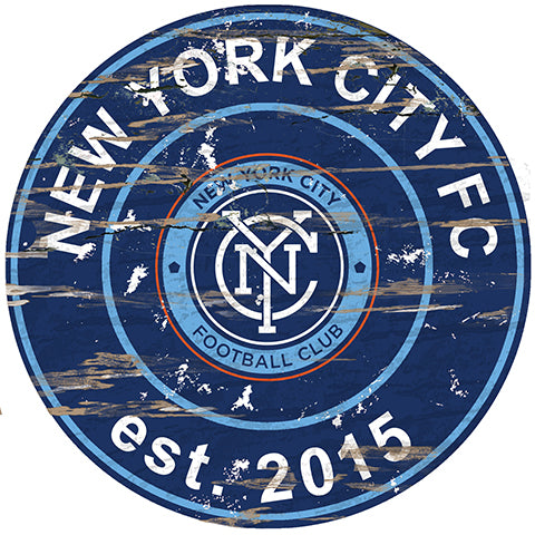 New York City FC Round Distressed Sign