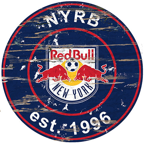 New York Red Bulls Round Distressed Sign