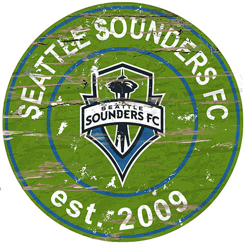 Seattle Sounders Round Distressed Sign