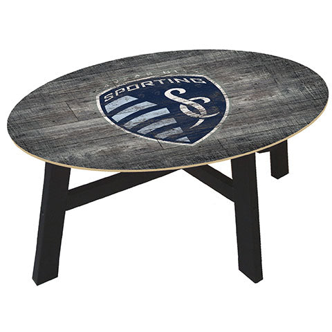 Kansas City Sporting Distressed Wood Coffee Table