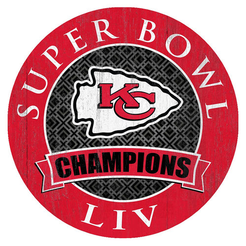Kansas City Chiefs Super Bowl LIV Champions Round 12in Circle