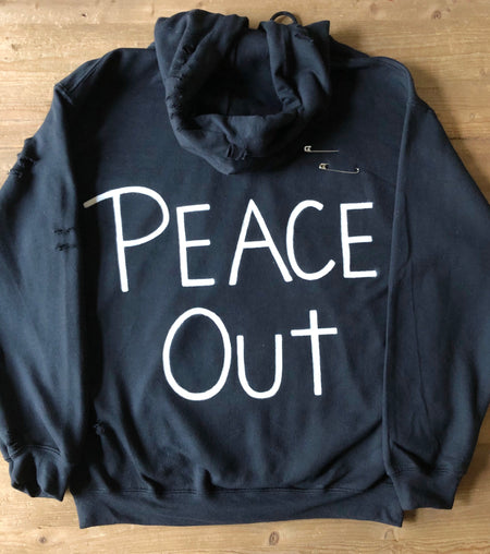 Hand painted Peace + Love Hoodie