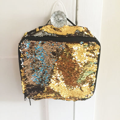 Gold and Platinum Magic Sequin Lunch Bag