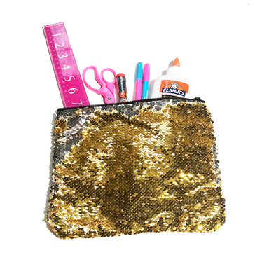 Gold and Platinum Magic Sequin Pencil Case